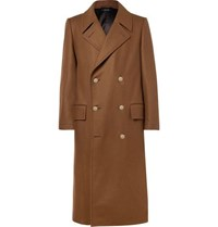 Dunhill Slim Fit Double Breasted Stretch Wool And Cashmere Blend Overcoat Brown