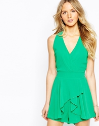 Wal G Halter Playsuit With Drape Front Green