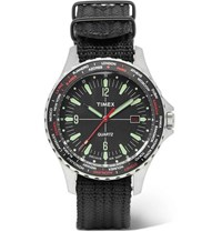 Timex Navi World Time Stainless Steel And Nylon Webbing Watch Black