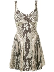 Roberto Cavalli Python Print Dress Neutrals
