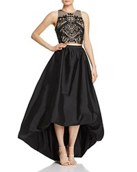 Adrianna Papell Beaded Bodice Two Piece Gown Black Nude