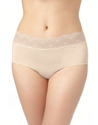 Le Mystere Lace Trim High Waist Brief Natural