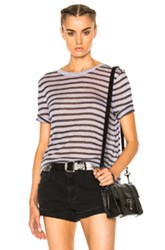Alexander Wang T By Rayon Linen Stripe Tee In Purple Stripes Purple Stripes