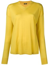Aspesi Fine Knit V Neck Sweater Yellow And Orange