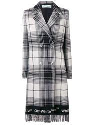 Off White Double Breasted Checked Coat Grey