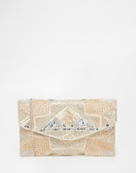 New Look Pastel Geo Embellished Clutch Oatmeal