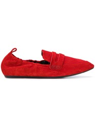 Lanvin Elasticated Loafers Women Calf Leather Goat Skin Calf Suede Rubber 35 Red