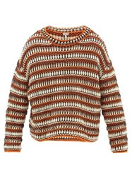 Loewe Striped Mesh Knit Wool Blend Sweater Black Orange