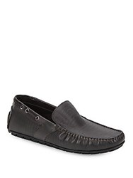 Bacco Bucci Ariston Textured Leather Driving Loafers Black