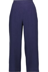 Equipment Beckett Cropped Washed Silk Wide Leg Pants Navy