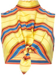 Moschino Striped Tie Front Crop Top Yellow Orange