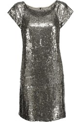 Alice Olivia Sherry Sequined Tulle Mini Dress Platinum