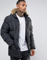 Criminal Damage Parka With Faux Fur Hood Black