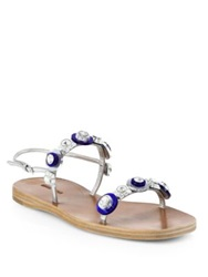 Miu Miu Jeweled Flat Slingback Sandals Silver