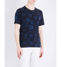 Sandro Floral Print Cotton T Shirt Navy Blue