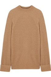 The Row Angel Oversized Ribbed Cashmere And Silk Blend Sweater Tan