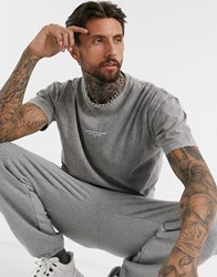 Good For Nothing Acid Washed Oversized T Shirt In Grey