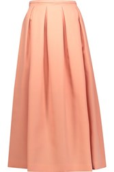 Rochas Pleated Wool Canvas Midi Skirt Coral