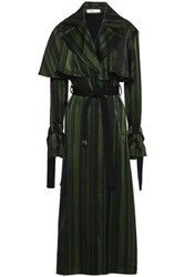 Adeam Woman Cape Effect Striped Satin Trench Coat Forest Green