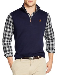 Polo Ralph Lauren Half Zip Supima Cotton Vest Navy