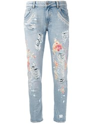 Amen Floral Embroidery Jeans Blue