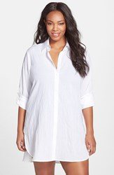 Tommy Bahama Plus Size Women's Boyfriend Shirt Cover Up White