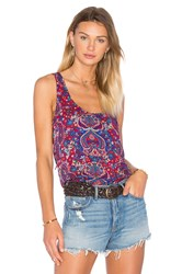 Splendid Kloe Paisley Back Lace Up Tank Red
