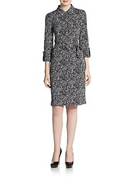Jones New York Heart Print Belted Shirtdress