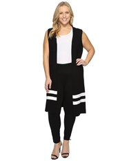 Vince Camuto Plus Size Sleeveless Milano Stripe Open Front Cardigan Rich Black Women's Clothing