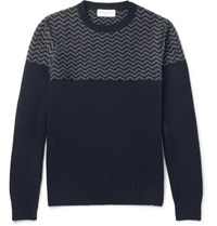 Officine Generale Jacquard Knit Merino Wool And Cashmere Blend Sweater Navy