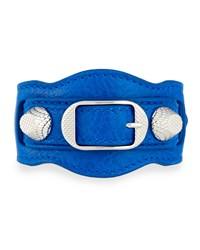 Giant 12 Leather Buckle Bracelet Blue Balenciaga