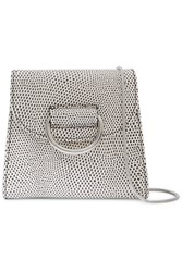 Little Liffner D Tiny Box Lizard Effect Leather Shoulder Bag White