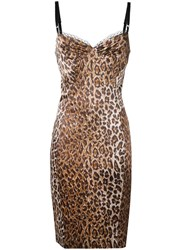 Dolce And Gabbana Vintage Cheetah Print Camisole Dress Nude Neutrals