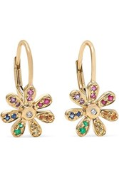 Sydney Evan Daisy 14 Karat Gold Sapphire Earrings One Size