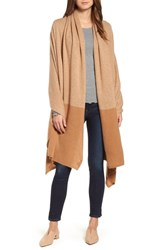 Halogen Cashmere Wrap Tan Indochine Heather Combo