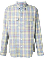 Julien David Plaid Pocket Shirt Yellow And Orange