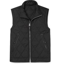 Tom Ford Slim Fit Leather Trimmed Quilted Shell Gilet Black