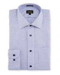 Neiman Marcus Classic Fit Regular Finish Check Dress Shirt Blue