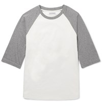 J.Crew Two Tone Cotton Jersey T Shirt Off White