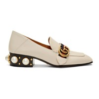 Gucci Off White Leather Heeled Loafers