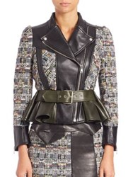 Alexander Mcqueen Leather And Tweed Peplum Moto Jacket