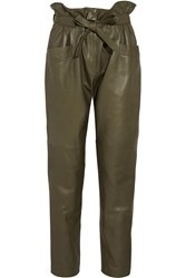 Emilio Pucci Leather Tapered Pants Green