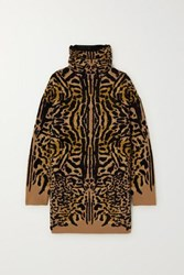 Givenchy Leopard Jacquard Wool Blend Turtleneck Sweater Leopard Print