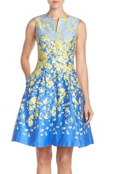 Women's Chetta B Floral Sateen Fit And Flare Dress