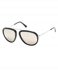 Tom Ford Stacy Flash Lens Aviator Sunglasses Black Silver Black Silver