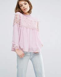 Fashion Union Pretty Lace Blouse Dusty Lilac Purple