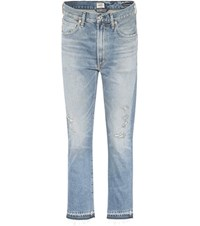 Citizens Of Humanity Dree High Waisted Cropped Cotton Jeans Blue