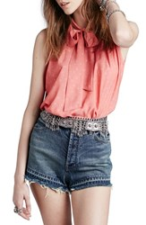 Women's Free People Front Tie Tank Coral