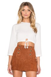 Oh My Love Tie Front Top White