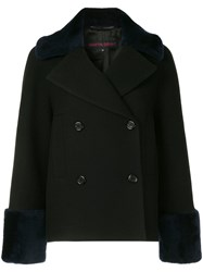 Martin Grant Double Breasted Shearling Coat Black